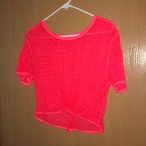 Tops - Red/orange tied top